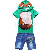 2015 Teenage Mutant Ninja Turtles boys clothing sets boys shirts+jeans 2-9Years child boys t-shirt clothing sets free shipping