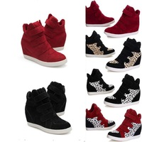 Free Shipping Fashion Women Wedges Sneakers Mid Calf Flats High Platform Casual shoes Ankle Boots 5color