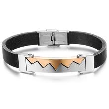 OPK Fashion Men Jewelry Wrap Handmade Genuine Leather W Design Wristband Men Love Bracelets & Bangles Charm Accessory 853
