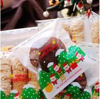 400pcs/lot 10*10cm Clear Santa Claus Cellophane Cookie Bag,Plastic Self Adhesive Seal,Christmas Bakery Macaron Gift Packing