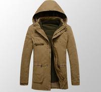 2014 winter cotton parka jacket men famous brand warm hooded long casual outdoor thick parka de los hombres sale 11.11 2014