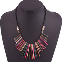 249#European fashion jewelry fashion color geometric exaggerated necklace.