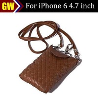 50pcs/lot Free Shipping Weave Neck Strap Leather Bag Case for iPhone 6 4.7 inch