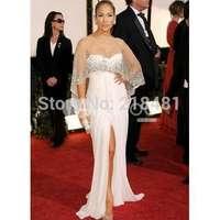 2015 Elegant Sexy Spaghetti Straps Cloak See Through White Sequins Beading Floor Length Split Party Celebrity Dresses