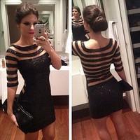 2014 Women Sexy Black Party Dress Stripe Paillette Slim Short Evening Prom Dress vestido de festa curto Free Shipping WQ0379