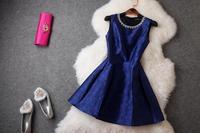2014 New Casual Brand Women Dress Vintage Print Luxuriou Neckline Beading Diamond Dress Jacquard Elegant Celebrity Dresses T2020
