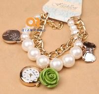 women watches Rose Gold Steel Luxury Round Ladies Quartz Wrist Brand Watches Analog Pendant Strap pearl Fashion bracelet watch