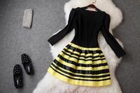2014 New Women Desigual Catwalk Fashion Dress Classic Black Striped Contrast Three Quarter Vestidos Runway Celebrity Dresses