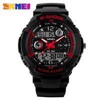 Outdoor Casual Sports Watch Skmei Luxury Brand Men Watches  2 Time Zone LED Digital Quartz Military Watches Dress Wristwatch