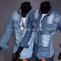 Brand Hot Men casual Korean version of Slim-type shirt washed denim long-sleeved shirts Male