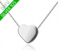 100% Sterling Silver Heart Necklace Valentine's Day Gift Free shipping