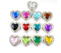 Rhinestone Fashion Folding Foldable Metal Heart Hand Bag Handbag Purse Hanger Hook Holder mix Colors