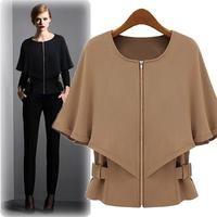 2014 Star Models of Shawl Jackets Women Short Section Black coat Roupas Femininas Half Sleeve Cloak T Shirt S M L