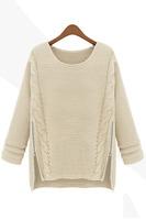2014 Autumn Winter Women Zipper Vintage Knitwear Sweater loose pullover casual long sleeve Pullovers B7030Z Fshow