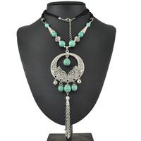 Fashion Jewelry Wholesale New 2015 Tibetan Vintage Bohemia Turquoise Bead Stone Silver Long Circle Pendant Necklace For Women