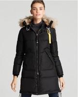 Long Bear Coat Women Fur-Hood Jacket Black 2014 Quality Brand Womens Parka 100% Down Winter Hooded Real Fur Master Piece 724