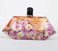 2014 Fashion Printing Women Evening Clutch Bags Flower Clutch Bag Famous Brand Designer PU leather Mini Bolsas Femininas 0121A