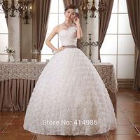 HOT Free shipping new 2014 white princess fashionable lace wedding dress romantic tulle wedding dresses HS104
