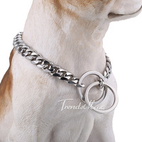 10.5mm wide Silver Tone Cut Curb Cuban Link 316L Stainless Steel Dog Chain Collar Customize Size 12-30inch Wholesale Gift DC03