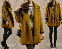New arrival autumn and winter women loose vintage woolen outerwear female lapel medium-long thicken woolen overcoat 1055