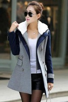 Europe Style 2014 Winter Coat Women Fashion Double Breasted Wool Patchwork Winter Coat Hooded Long Sleeve Casual Jacket S-3XL