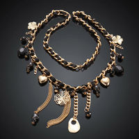 NE029 Vintage Long Chain Charm Costum Necklace Sweater Party Necklace New statment  Jewelry 80cm Christmas Gift
