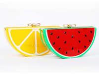 New Special Evening Bag Watermelon Lemon Fruit Acrylic Bag Bow Small Women Evening Bag Patchwork Clutch Blosa 0124A