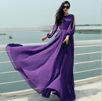 Spring And Autumn New Designer Floor-length Dress Off The Shoulder Long Sleeve Purple Maxi Dress Bohemian Ruffles Chiffon Dress