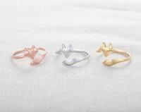 Aliexpress Wholesale 30pcs/Lot Rose Silver Gold Fox Ring adjustable ring animal Rings