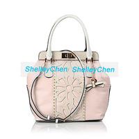 New famous brands European and American style  women bag hit the color rivet flower bucket bag handbag Shoulder Messenger Bag