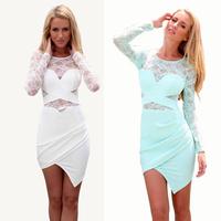 Celeb Lace Spliced Irregular Hem Bodycon Slim Fit Sheer Sexy Dress