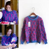 2014 new winter divorce lawyer Chen Yao Luo Li Jiao Yanyan same paragraph hedging hit color knit sweater women