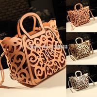 2015 Fashion new women leather handbags hollow out messenger bags girls print shoulder bag desigual bolsas gold phone wallet