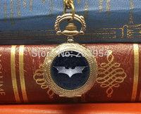 Movie Batman quartz pocket watch necklace pendant 1pcs/lot steampunk vintage style for xmas gift handmade fashion jewelry mens