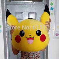 1pc FREE SHIPPING 50*40cm Large Size Good Quality Big Eyed Stuffed Animal Kawaii Cute Yellow Pokemen Pikachu Plush Toy Soft Doll