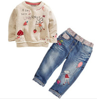 CCS191 Free shipping 2014 new children fashion autumn clothing sets cartoon sweater + jeans baby girls suit kids clothes retail