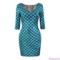 Digital Mermaid Print Cult Fashion Half Sleeves Dress Fish Scale Sexy Clubwear LYQ22