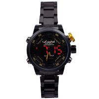 fashion trends men's watch LED dual movement watch upscale steel watch band Luminous Waterproof watch Clock
