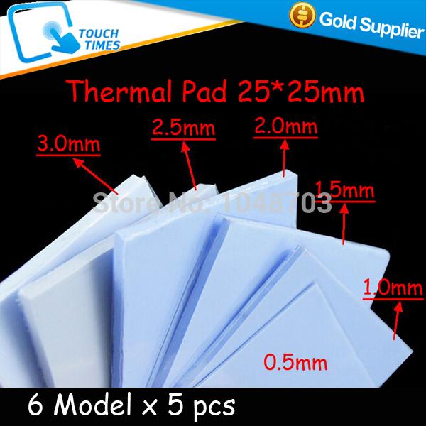 Free Shipping 30pcs 25*25mm Thermal Pad Silicone Heatsink Conductive Pad 0.5mm/1mm/1.5mm/2mm/2.5mm/3mm for CPU GPU VGA Chipset(China (Mainland))