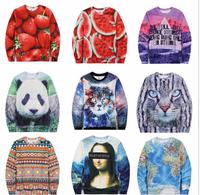 (Alice)3D hot new clothing custom fleece inside warm winter cotton hoodies men / women round neck printed sweatshirts