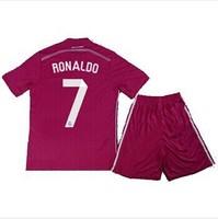 7 # Ronaldo! 14/15 Real Madrid Away Kids top quality jerseys, Benzema Bale, Robben 2015 pink soccer jerseys, free shipping.