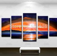 Hand painted Back Oil Wall Art  Sunrise rainbow bridge Home Decoration Abstract Landscape  Painting on Canvas 5pcs/set