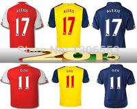 Thai quality 2015 Arsenalex Jersey ALEXIS OZIL WILSHERE RAMSEY ARTETA GIROUD CAZORLA PODOLSKI WALCOTT 14 15 Football Jersey