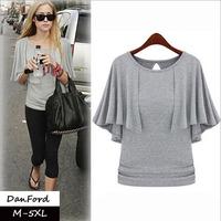 2014 New Brand  Women Plus Size Short Sleeve T Shirt Fashion Cotton Solid Blouse for Women M-5XL DFT-014
