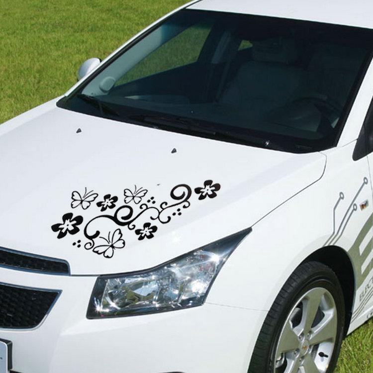 2x Butterfly Flower Vinyl Car Graphics window Sticker Decal Decor(China (Mainland))
