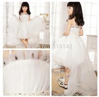 Retail 2014 New white wedding sling dress girls baby princess dress lace rhinestone party dress  free shipping TY-L9
