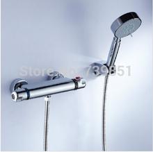 grifos, mezcladores y grifos de baño del cromo grifo de la ducha montada en la pared Raining válvula termostática de mezclador del grifo para el baño envío gratuito(China (Mainland))