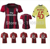 AC Milan 14/15 Thailand quality AC Milan home and away # 45 Balotelli, Robinho # 7 jersey football shirt can be customized woman