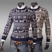 2014 New.Korean style   slim fit round collar all match  pullover  mens flower print  sweater M-XXL