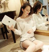 2014 women lace chiffon blouse femininas blusas feminina camisas renda roupas Hollow Out blouses clothes shirt Tops